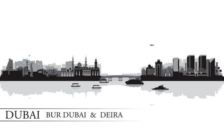 bur dubai: Dubai Deira and Bur Dubai skyline silhouette background, vector illustration Illustration