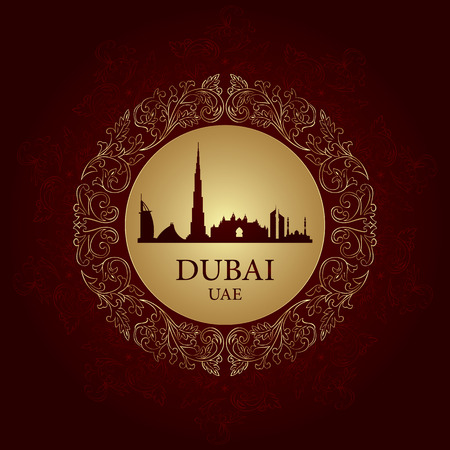 Dubai skyline silhouette on vintage background, vector illustration