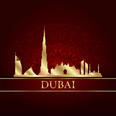 Dubai skyline silhouette on vintage background, vector illustration