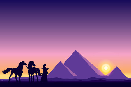 pyramid of the sun: Egypt Great Pyramids with Bedouin and horses silhouettes on sunset background