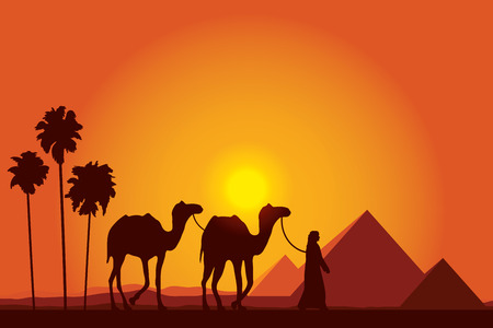 ancient egypt: Egypt Great Pyramids with Camel caravan on sunset background  Illustration