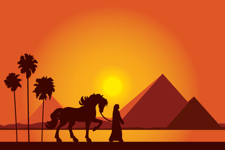 bedouin: Egypt Great Pyramids with silhouette of Bedouin and horse on sunset background Illustration
