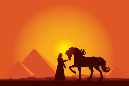 nile: Egypt Great Pyramids with silhouette of Bedouin and horse on sunset background