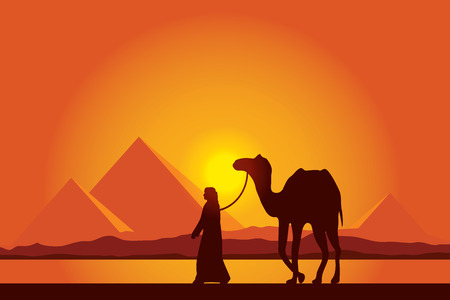 bedouin: Egypt Great Pyramids with Camel caravan on sunset background  Illustration