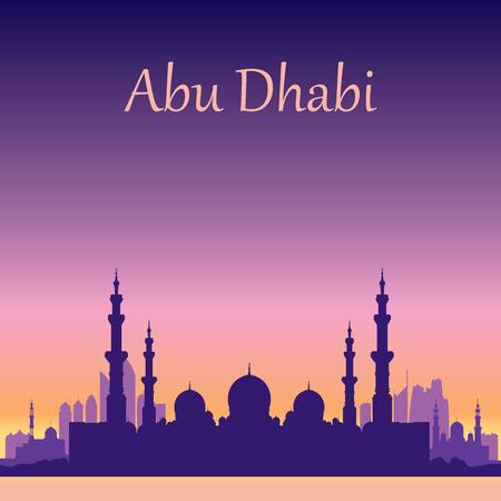 Abu Dhabi skyline silhouet achtergrond met een Grand Mosque vectorillustratie Stockfoto - 40951127