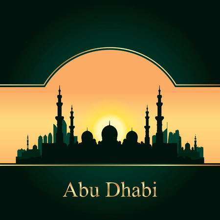 mosque illustration: Abu Dhabi skyline silhouette background with a Grand Mosque vector illustration Illustration