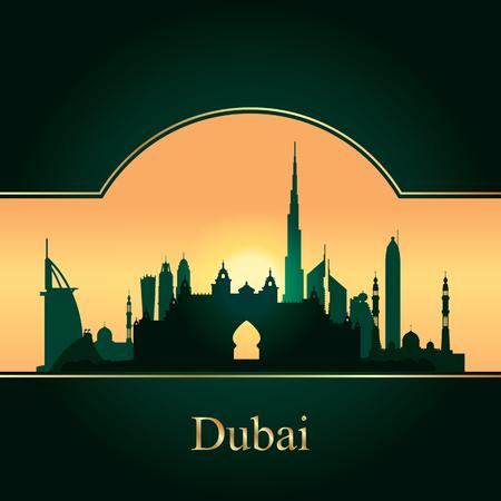 gold coast: Dubai skyline silhouette on sunset background, vector illustration