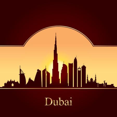 dubai: Dubai skyline silhouette on sunset background, vector illustration
