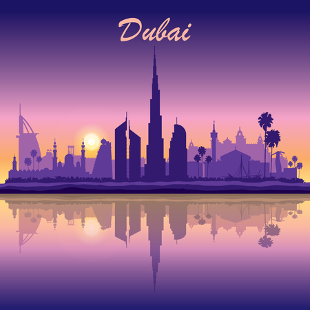 night skyline: Dubai skyline silhouette on sunset background, vector illustration