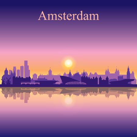 Amsterdam city skyline silhouette background