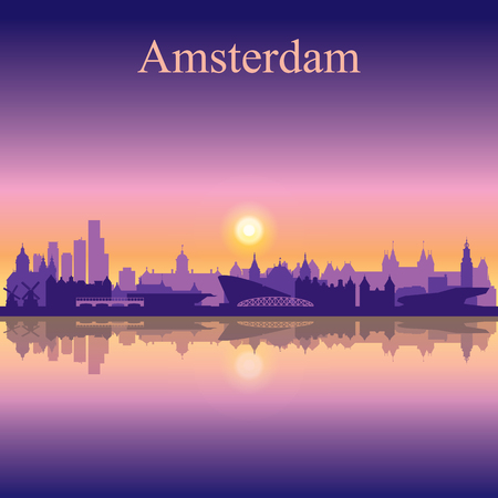 city background: Amsterdam city skyline silhouette background
