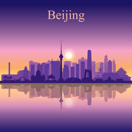 Beijing city skyline silhouette background
