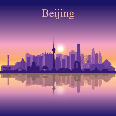 Peking Skyline der Stadt Silhouette Hintergrund Standard-Bild - 46711362