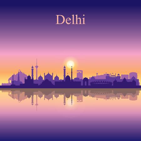델리 시내의 스카이 라인 실루엣 배경 일러스트