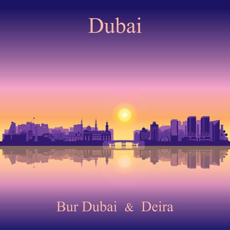 beach panorama: Dubai Deira and Bur Dubai skyline silhouette background