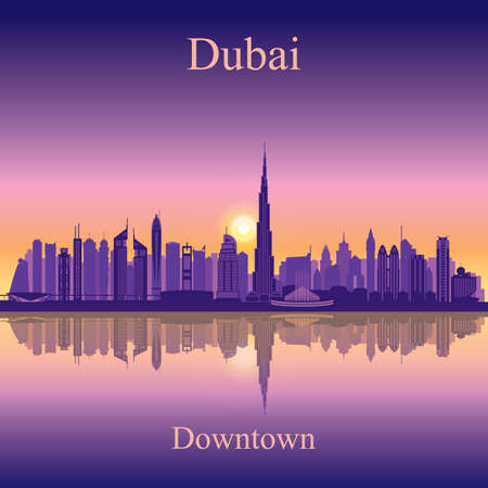dubai: Dubai Downtown City skyline silhouette background