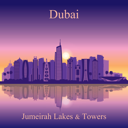 tower house: Dubai Jumeirah Lakes Towers skyline silhouette background