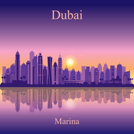 city background: Dubai Marina City skyline silhouette background