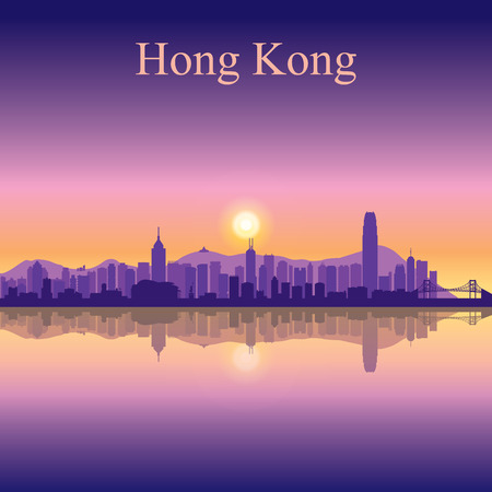 Hong Kong city skyline silhouette background Illustration