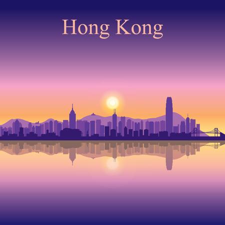 Hong Kong skyline van de stad silhouet achtergrond Stock Illustratie