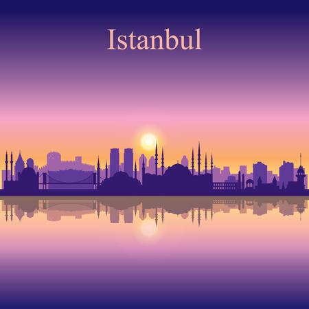 city background: Istanbul city skyline silhouette background Illustration