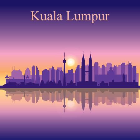 Kuala Lumpur skyline van de stad silhouet achtergrond Stock Illustratie