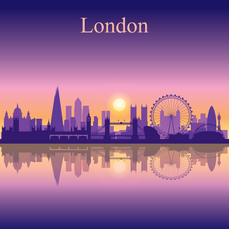 london night: London city skyline silhouette background
