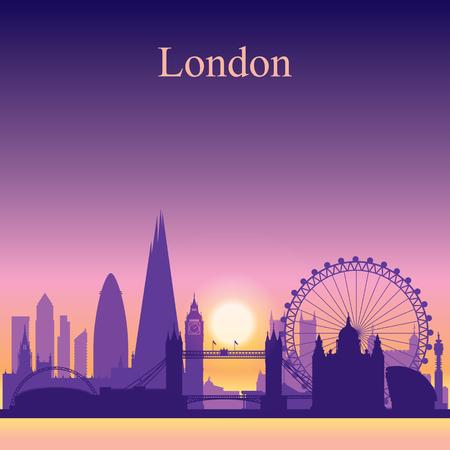 London city skyline silhouette on sunset background