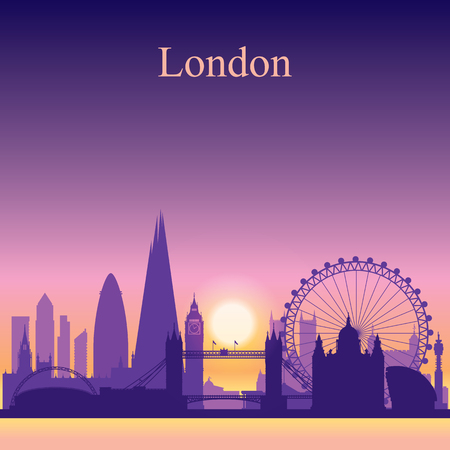 london night: London city skyline silhouette on sunset background