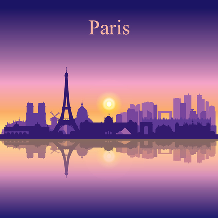nighttime: Paris city skyline silhouette background