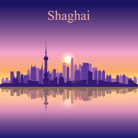 shanghai skyline: Shanghai city skyline silhouette background