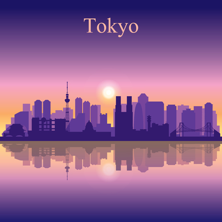 city at night: Tokyo city skyline silhouette background