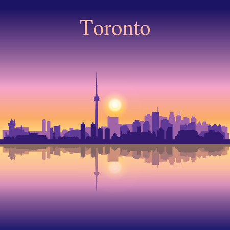 toronto: Toronto city skyline silhouette background Illustration
