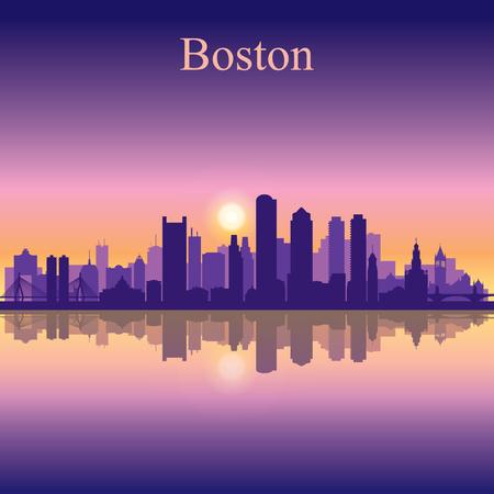 boston skyline: Boston city skyline silhouette background