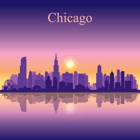 シカゴ市のスカイライン シルエット背景