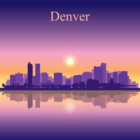 denver skyline at sunrise: Denver city skyline silhouette background Illustration