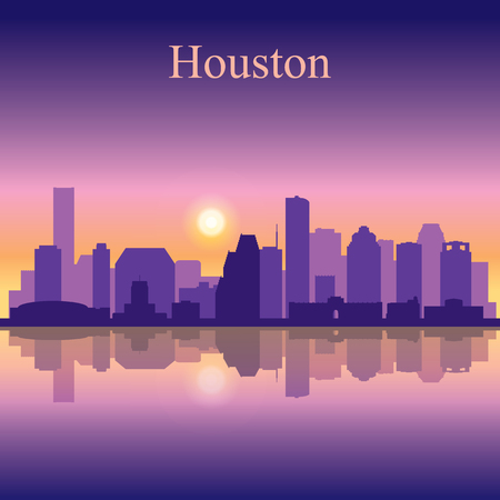 city background: Houston city skyline silhouette background Illustration