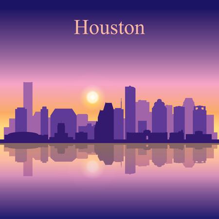Houston city skyline silhouette background Illustration