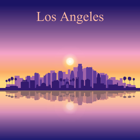 angeles: Los Angeles city skyline silhouette background Illustration