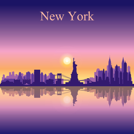 new york city panorama: New York city skyline silhouette background Illustration