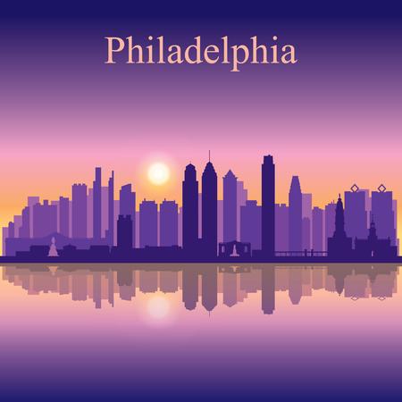 フィラデルフィア市のスカイライン シルエット背景
