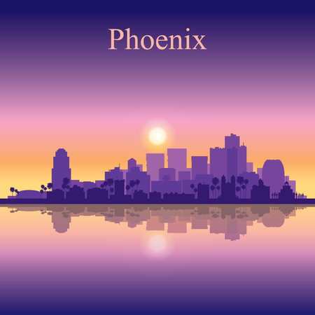Phoenix city skyline silhouette background Illustration