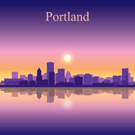 city background: Portland city skyline silhouette background Illustration