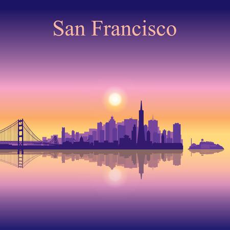 샌프란시스코 도시의 스카이 라인 실루엣 배경