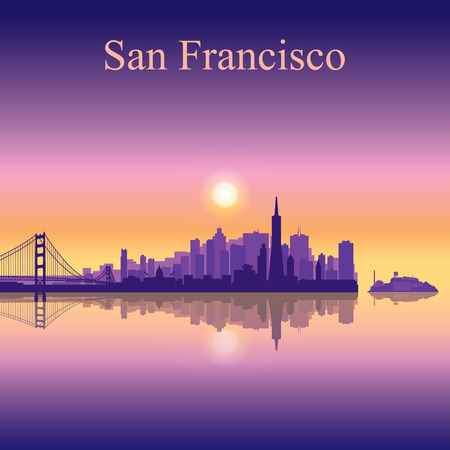 San Francisco city skyline silhouette background Illustration
