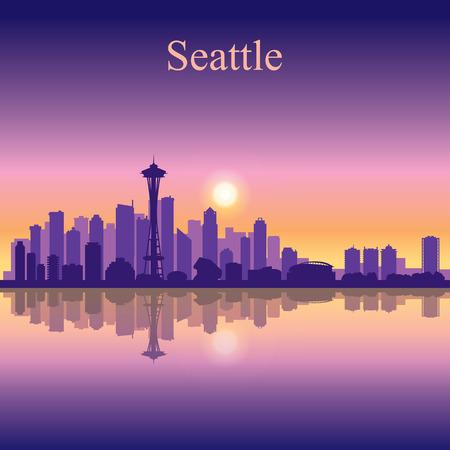 シアトル市のスカイライン シルエット背景