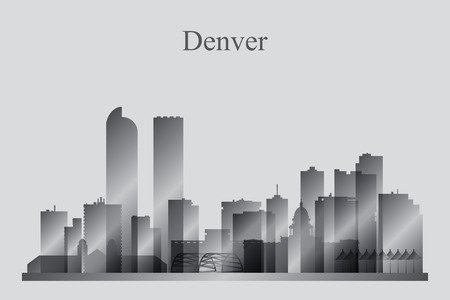 Денвер: Denver city skyline silhouette in grayscale, vector illustration