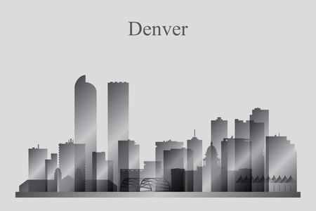 denver: Denver city skyline silhouette in grayscale, vector illustration