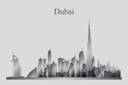 city skyline: Dubai city skyline silhouette in grayscale, vector illustration