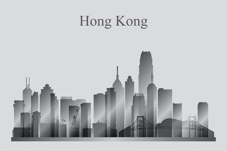 hong kong harbour: Hong Kong city skyline silhouette in grayscale, vector illustration Illustration